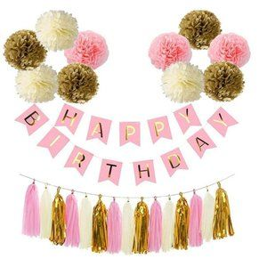 Pink & Gold Happy Birthday Party decorations decor